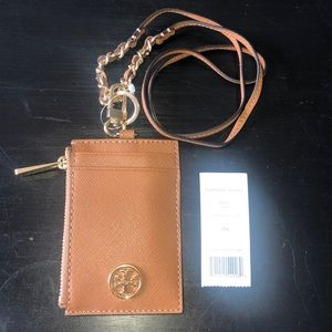 Tory Burch Robinson Lanyard with Wallet in Tan